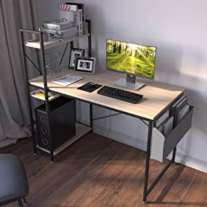 47 inch Desk with 4 Tiers Side Storage Shelves, Home Office Computer Desk/Table Bookshelf Combo for Space Saving, Can Use for Teens/Kids Writing Desk College Student Study Desk (Oak Nature)