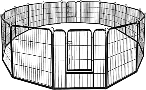 Giantex 24 32 40 48inch Dog Playpen with Door, 16 8 Panel Pet Playpen for Large and Small Dogs, Portable Freestanding Dog Exercise Pens, Metal Dog Playpen Indoor Outdoor