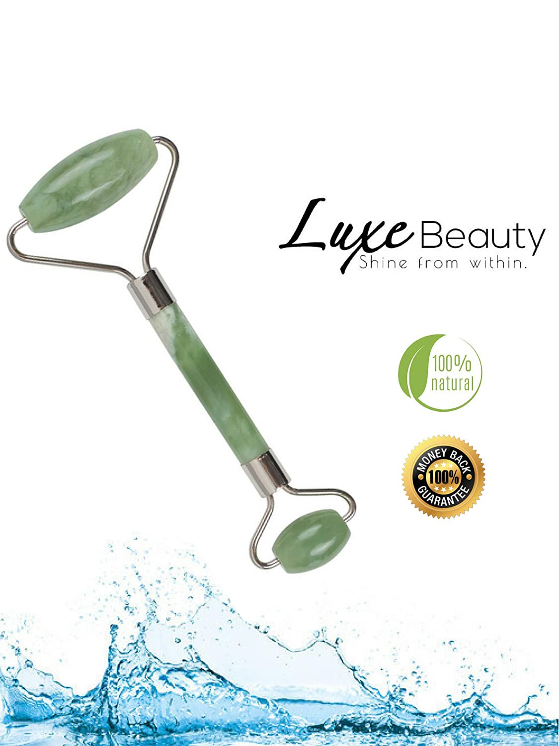 Premium Anti-Aging Jade Roller Face and Neck Massage Therapy | 100% Authentic All Natural Himalayan Jade Stone - By LuxeBeauty