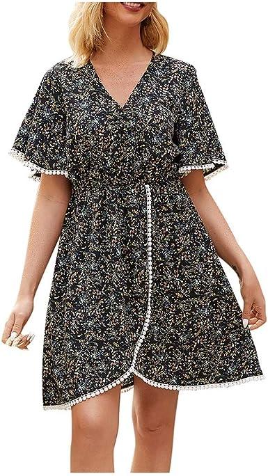 Party Women Vintage A-Line Dress Tunic Long Sleeveless Floral Print Sundress UK