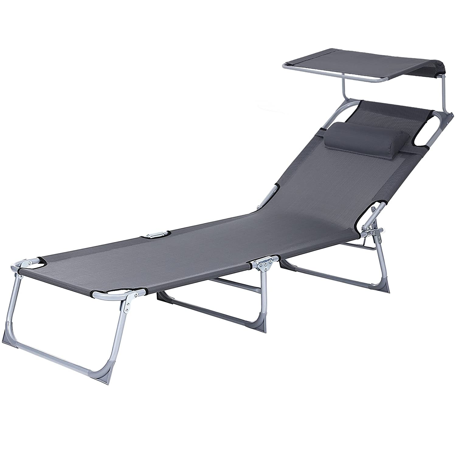 SONGMICS Bain De Soleil Inclinable Chaise Longue Transat Pliable et Pare Soleil Réglable 193 × 62 × 30 cm Charge 250 kg Transportable GCB19U