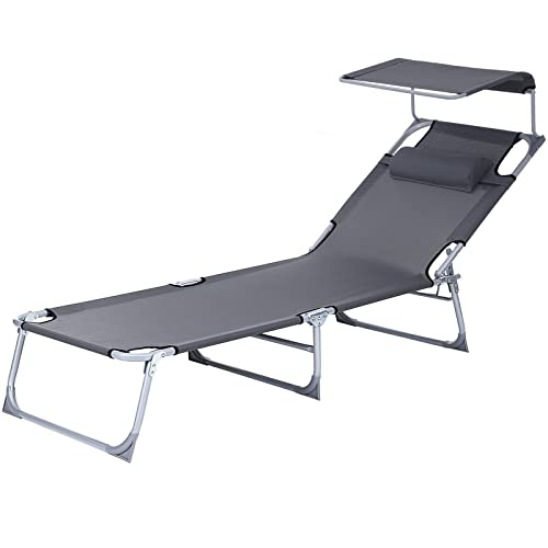 SONGMICS Sun Lounger Recliner Chair with canopy and adjustable Backrest 193 x 62 x 30 cm GCB19U