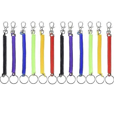 12pièces 17cm spirale à ressort Porte-clés extensible spirale rétractable Porte-clés en métal avec clip ceinture, 6couleurs