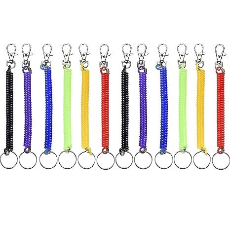 Llavero con muelle en espiral de 16,5 cm, 12 unidades, elástico, en espiral, retráctil, con clip para cinturón de metal, 6 colores
