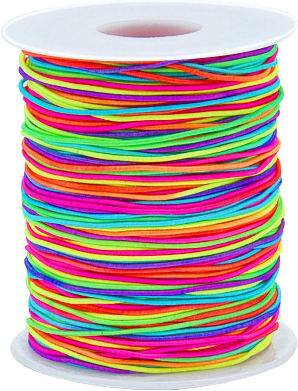 1mm Sunmns Elastic Cord Beading Stretch String for Jewelry Bracelet Making Rainbow 100 m