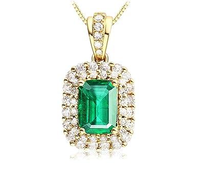 Émeraude Forme Femme 18k Or Pendentif Diamant Epinki Naturel Collier EHY2eDIW9