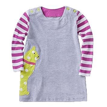 Baby Mädchen Kleider Prinzessin Mädchen Tier Druck Kleid Streifen ...
