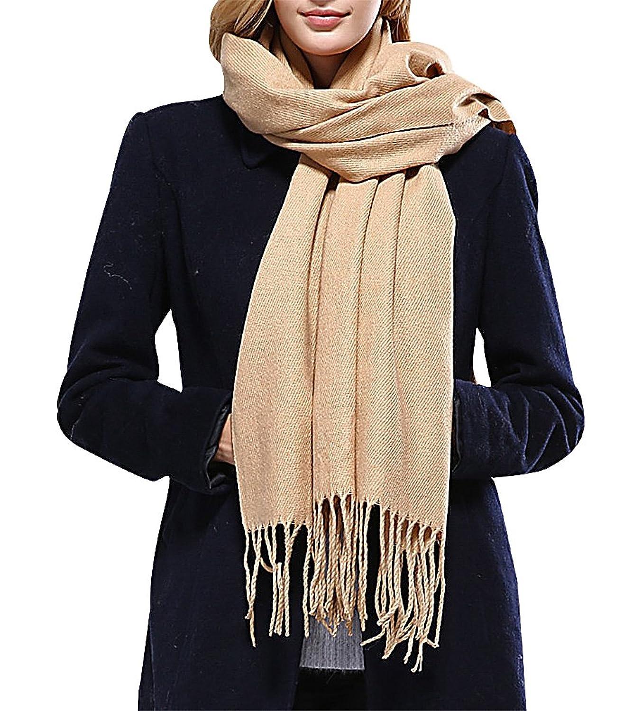Maze Women Long Cotton Acrylic Simple 1 Color Tassel Edges Warm Wrap Scarf