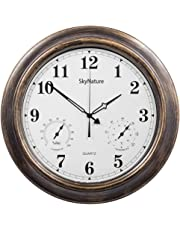Outdoor Clocks, 18 Inch Large Indoor Outdoor Wall Clock Waterproof with Temperature and Humidity