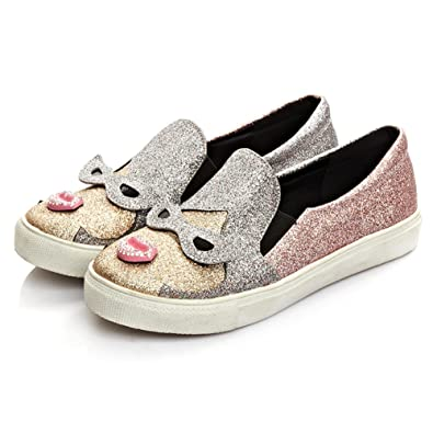 Womens Bling Sequins Mid Heel Fashion Sport Sneakers shoes Pull On Round Toe hot