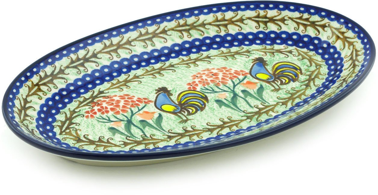 Polish Pottery 11¾-inch Platter made by Ceramika Artystyczna (Rooster Dance Theme) Signature UNIKAT + Certificate of Authenticity