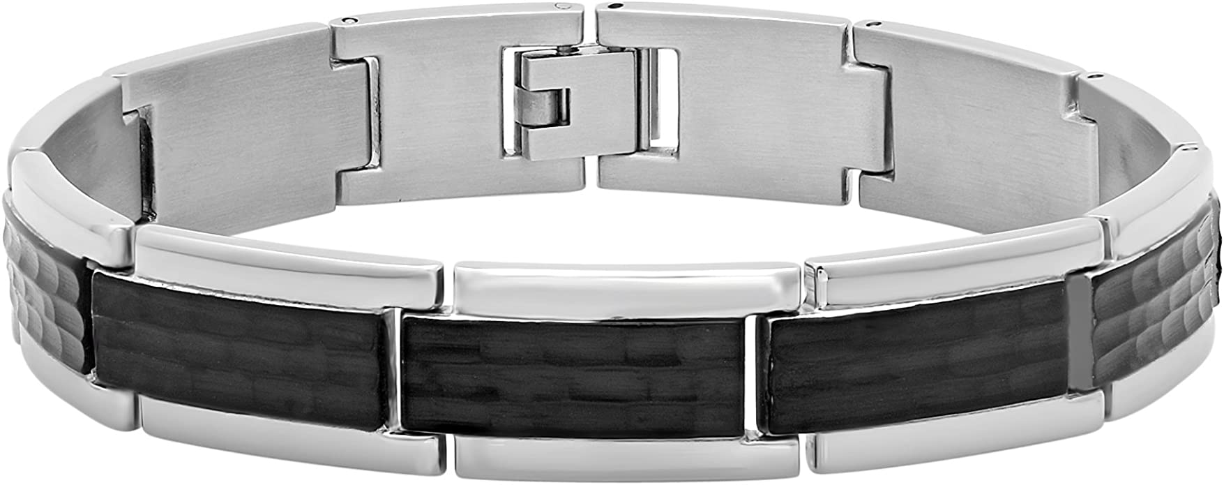 STEEL NATION JEWELRY Men/'s Stainless Steel Black Two-Tone Striped Tie Clip