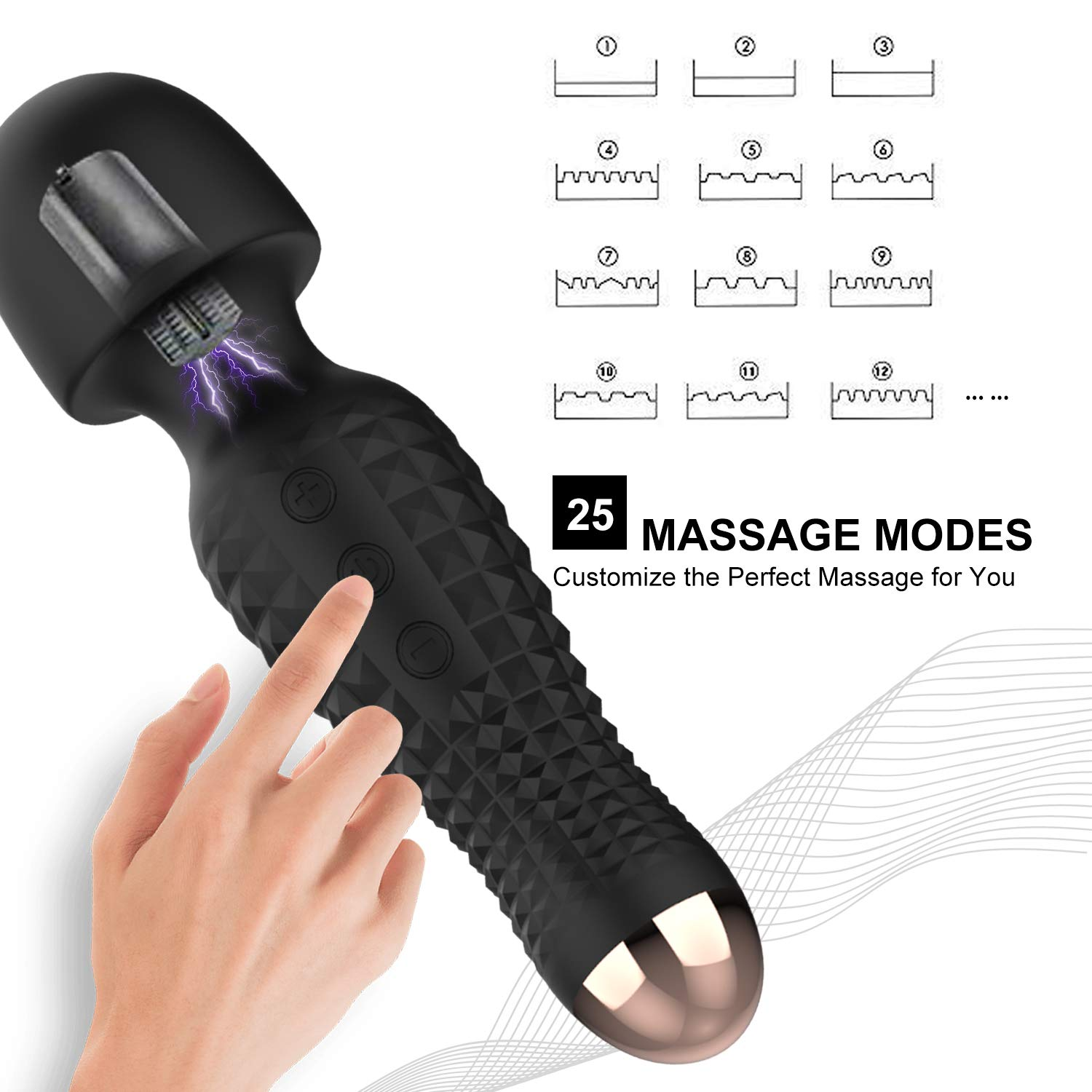 Personal Therapeutic Massage Wands, Handheld Cordless Massage Wand Rechargeable with 12 Powerful Vibration Modes for Full Body Massaging Sports Recovery & Muscle Aches Original Magic Wands (Black)