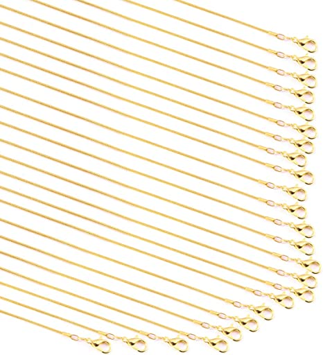 1.2 mm TecUnite 24 Pack Gold Plated DIY Snake Chain Necklace with Clasp for Jewelry Making 18 Inches