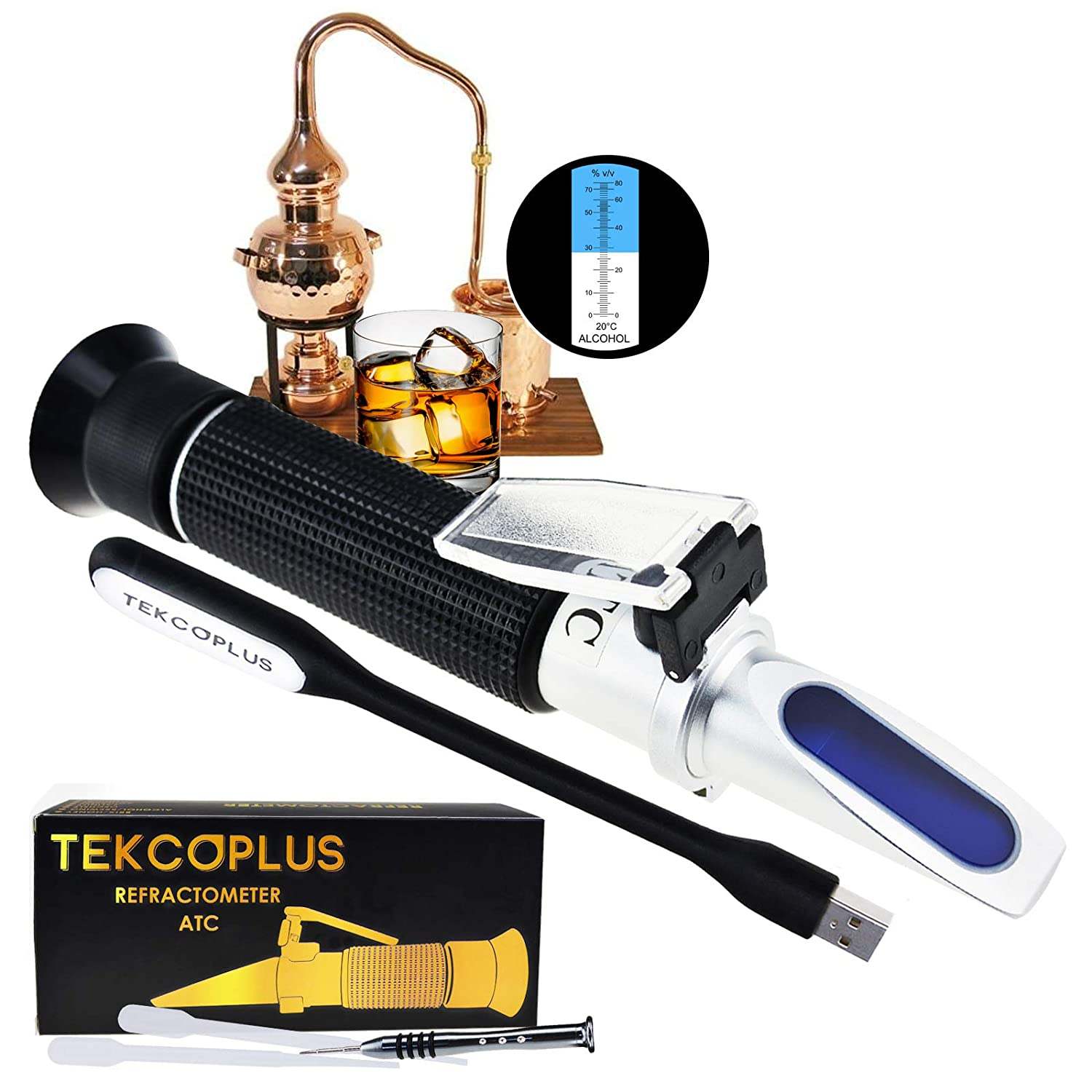 Optics Alcohol Refractometer 0-80% Volume Percent ATC, For Alcohol Liquor production, Spirit Alcohol Measurement, Ethanol with water, Distilled beverages, Winemakers, with EXTRA LED light & pipettes TekcoPlus Ltd RETK-75