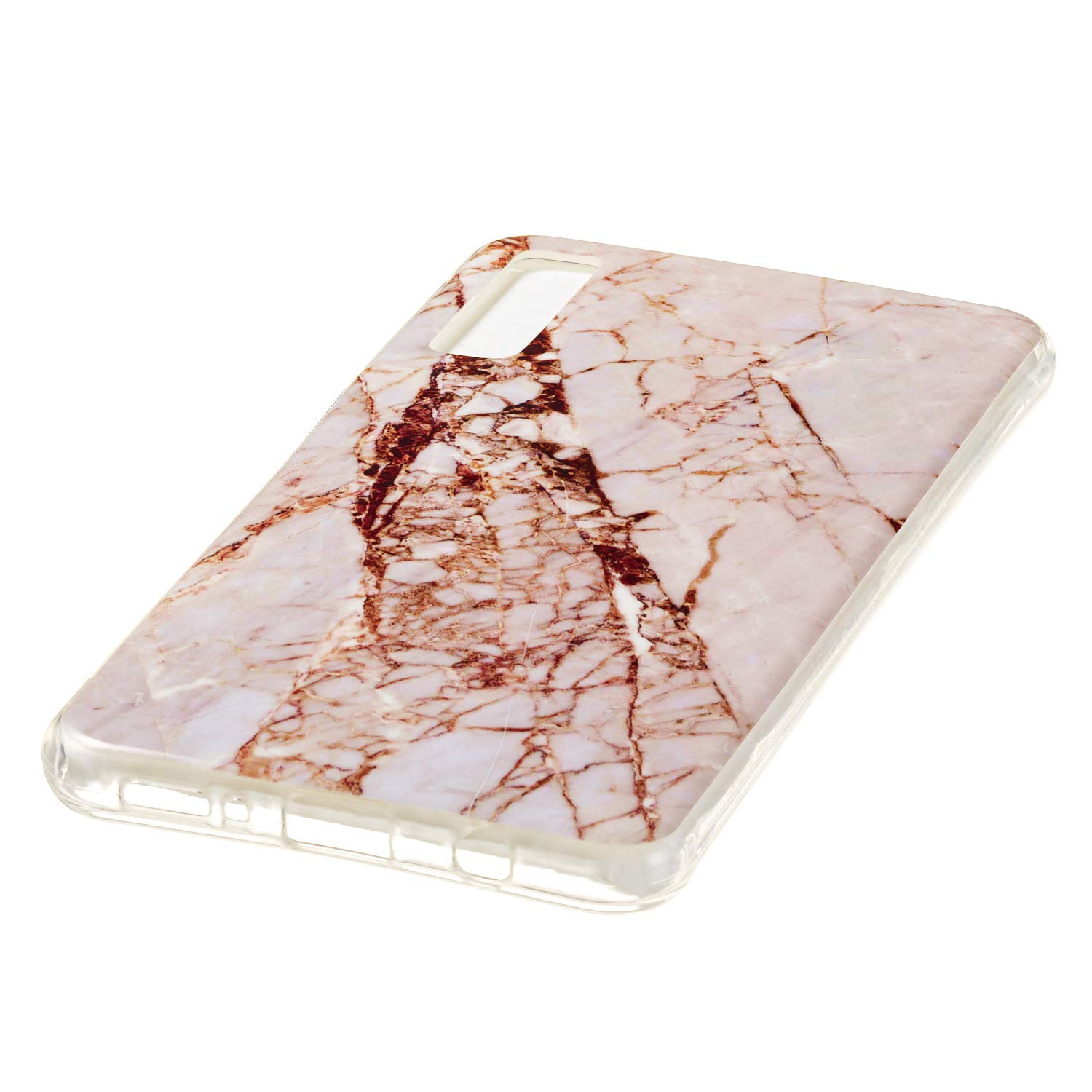 for Samsung Galaxy A7 2018 (A750) Marble Case with Screen Protector,Unique Pattern Design Skin Ultra Thin Slim Fit Soft Gel Silicone Case,QFFUN Shockproof Anti-Scratch Protective Back Cover - White by QFFUN (Image #4)