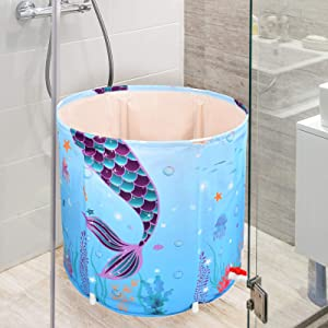 Portable Bathtub - Mermaid Foldable Freestanding Tub for Adults Kids Soaking SPA Hot Bathtub with Thermal Foam Keep Temperature Ocean Theme Ice Bath Tub for Bathroom Shower Stall Caravans Gift