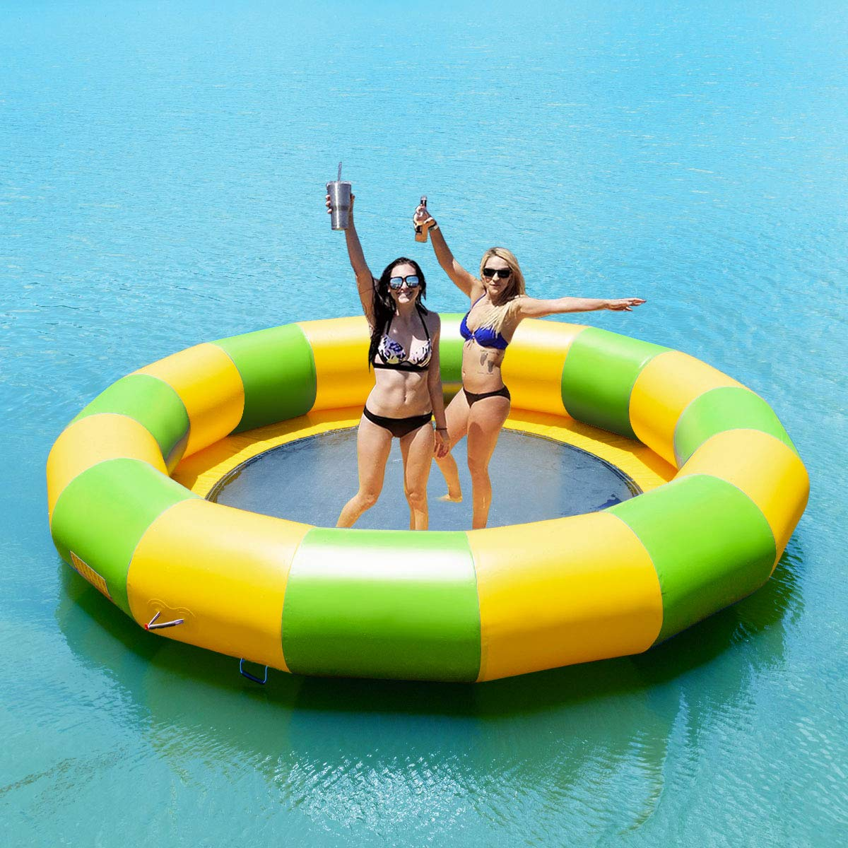 10ft Goplus Inflatable Water Bouncer Portable Jump Water Trampoline Bounce Swim Platform for Water Sports Indoor or Outdoor Use with Electric Pump