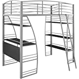 DHP Studio Loft Bunk Bed Over Desk and Bookcase with Metal Frame, Twin, Gray