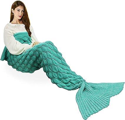 Femmes queue de sirène confortable en queue de poisson canapé Beach Chaud Crochet Tricot Couverture