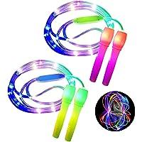 ANBET 2 stuks LED Light Up springtouw in lengte verstelbaar en drie lichtmodi Speed springtouw voor kinderen, Light Show…
