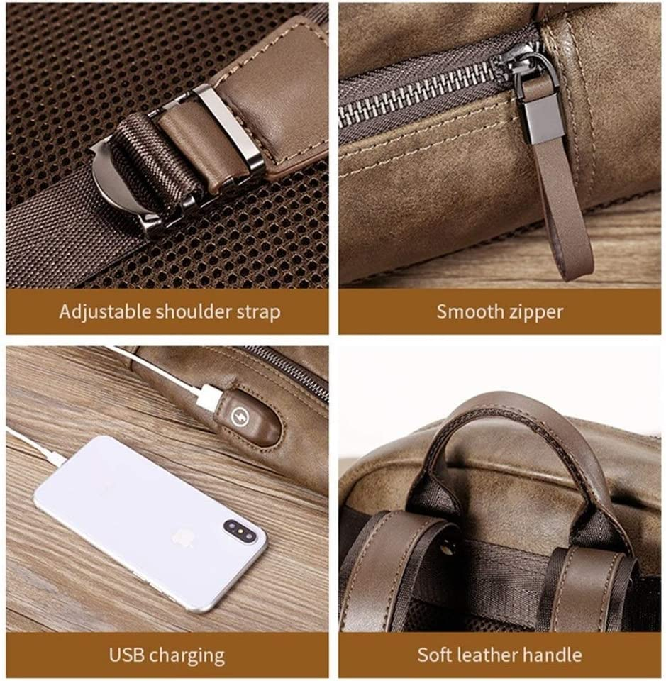 Color : Brown, Size : S HAOXIONG-ZHANG 17 Inch Leather Svelte Laptop Backpack for Men Canvas Backpack Men USB Laptop Backpack Mens Bag