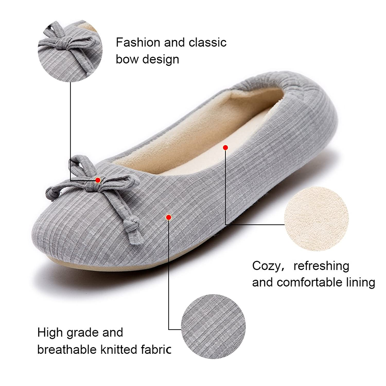 Cozy Niche Damen Komfort Streifen Ballerina Schuhe, Memory Foam Pantoffeln mit Korallen Samt Futter