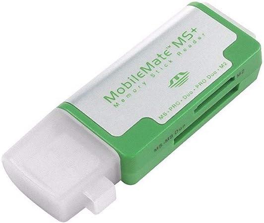 JIN 2 in 1 USB 2.0 M2 TF//SD//MMC//MS//MS PRO Duo Card Reader /& 3-Port HUB Black Color : Blue