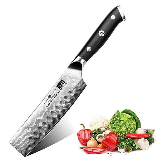 SHAN ZU Cuchillo de Cocina Nakiri Damasco, 16.5cm Cuchillo Japones para Verduras, Cuchillo de Chef de 67 Capas de Acero Damasco, Cuchillo de Cocinero ...