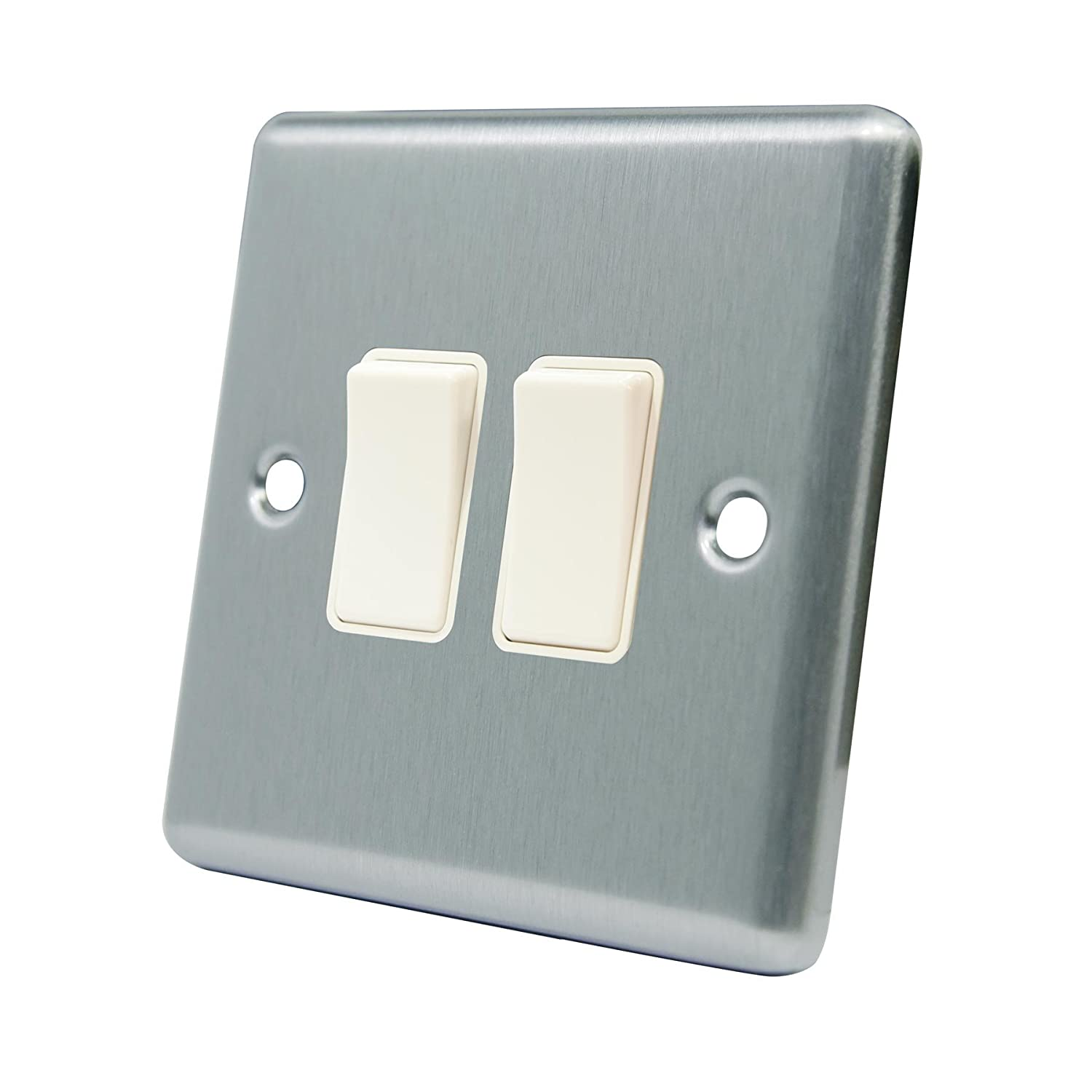Light Switch 2 Gang - Satin Matt Chrome - Square - White Insert Plastic Switch - 10 Amp Double 2 Gang 2 Way A5 Products A5 Switch SS