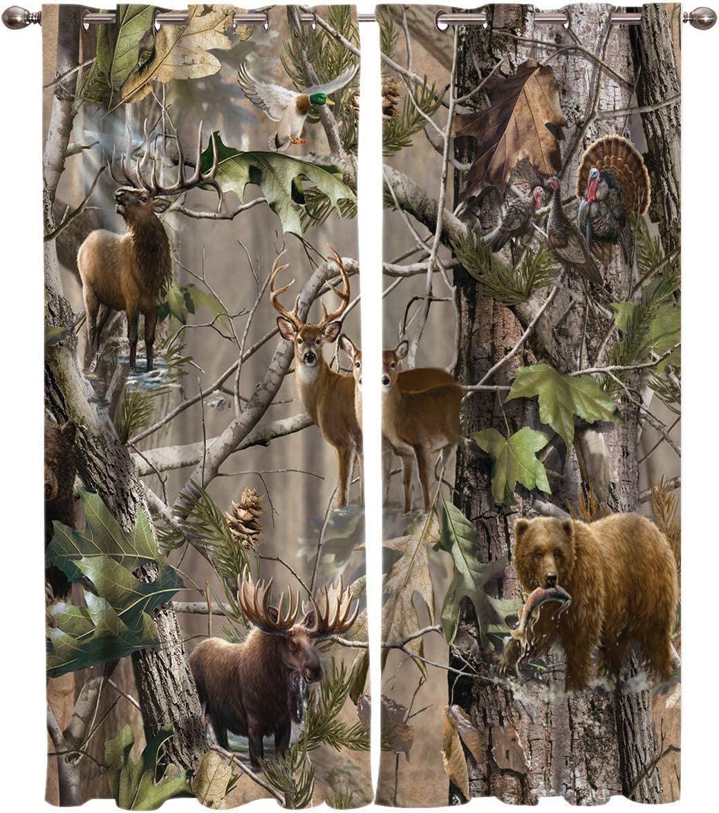 Window Panel Curtain Sets, Realtree Camo Rustic Deer Elk Bird Bear Home Drapes Decor for Living Room Kitchen Bedroom,, Set of 2 Panels, 1 Pair Curtains- (40x63inch x 2)