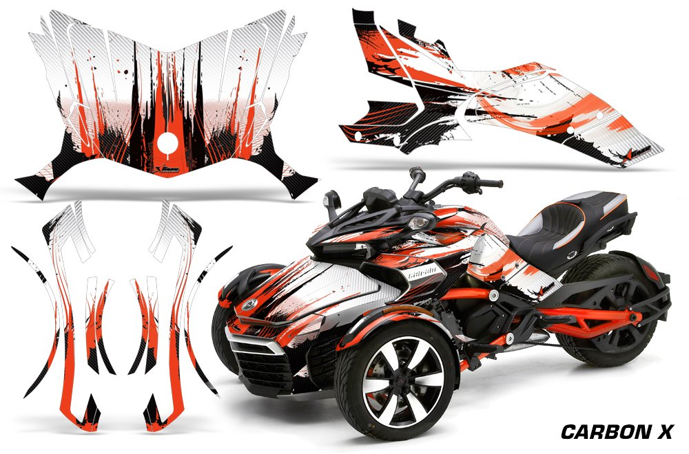 AMR Racing Graphics Can-Am Spyder F3 Roadster Vinyl Wrap Kit - Carbon X Orange