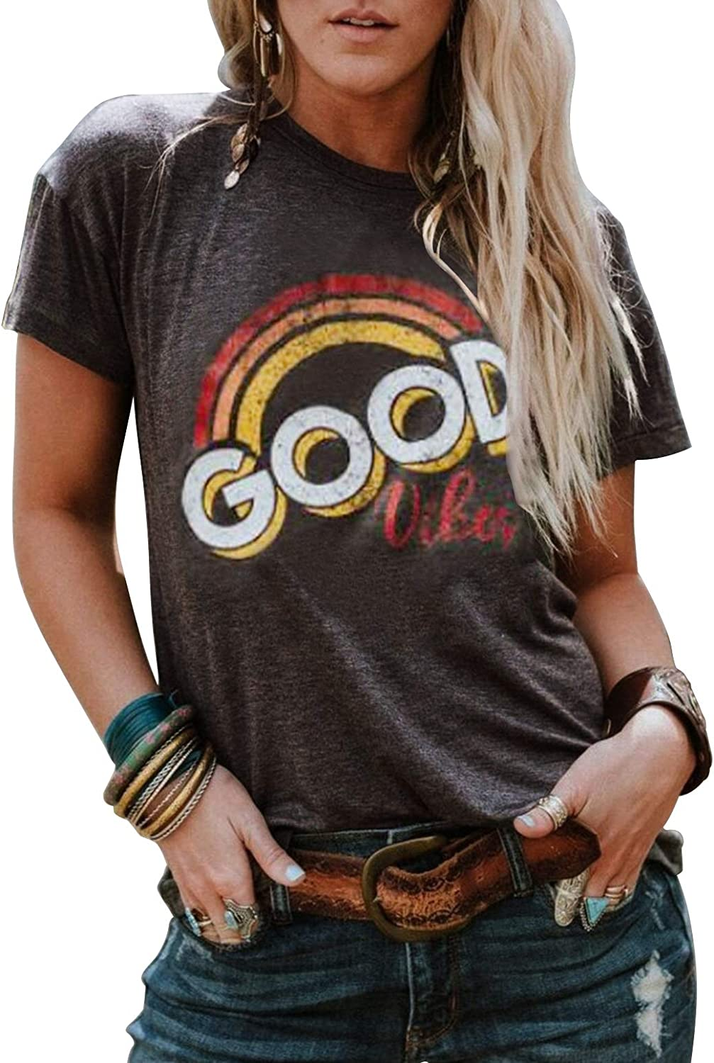 Good Vibes Rainbow T-Shirt Costume Women's Vintage Casual Graphic Blouse Top Tee