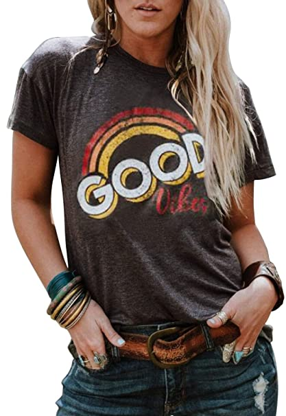 38d2cd52 Image Unavailable. Image not available for. Color: Good Vibes Rainbow T- Shirt Costume Women's Vintage Casual Graphic Blouse Top Tee ...