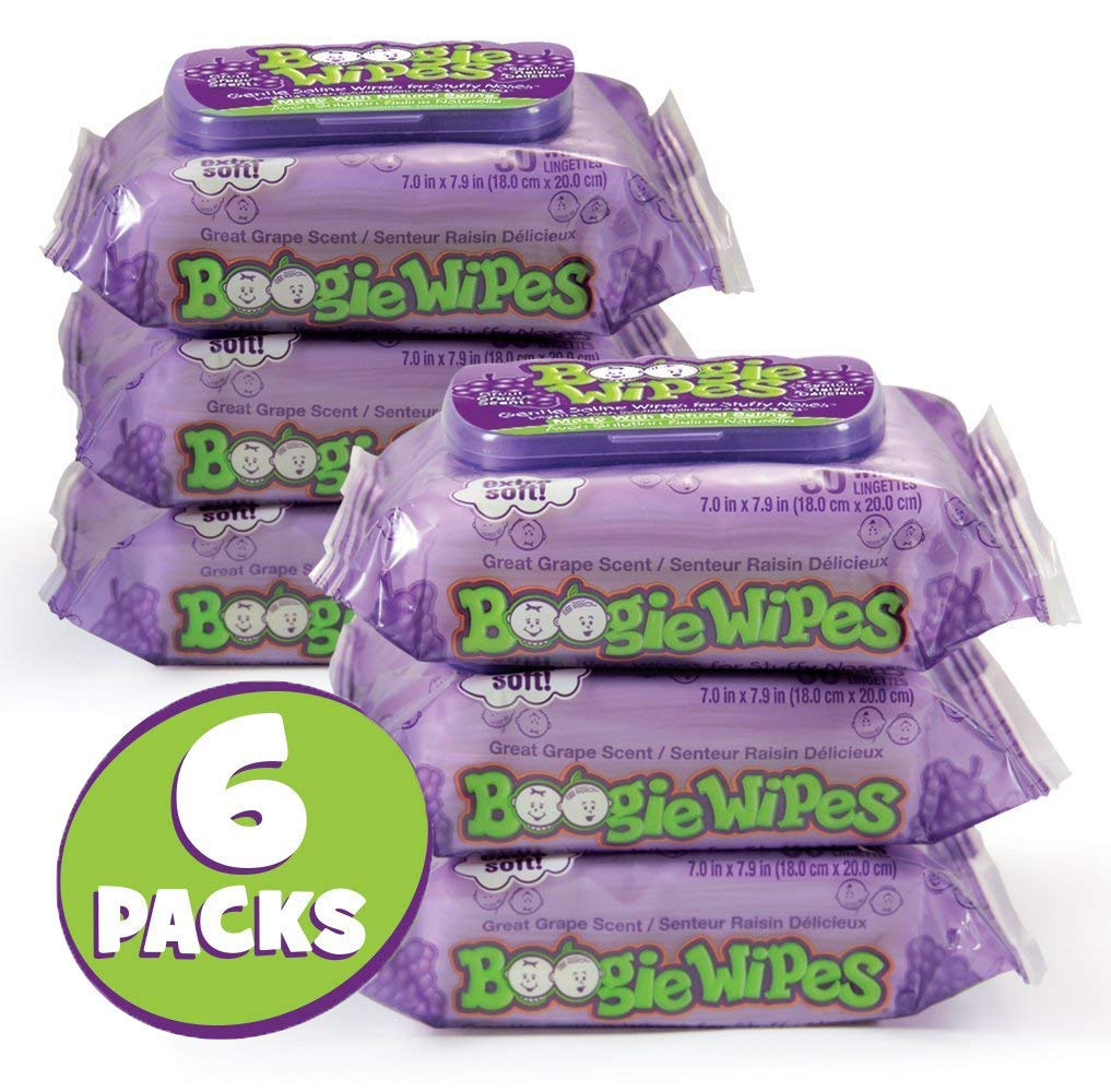 Boogie Wipes, Wet Nose Wipes for Kids and Baby, Allergy Relief, Soft Natural Saline Hand and Face Saline Tissue with Aloe, Chamomile and Vitamin E, Grape Scent, 30 Count (Pack of 6)