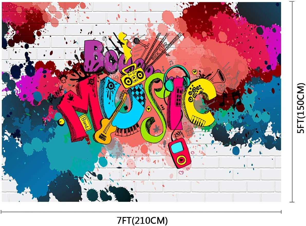 10x8ft Background Graffiti Music Wall Photography Backdrop for Rock and Roll Birthday Party Photo Props LHFU008