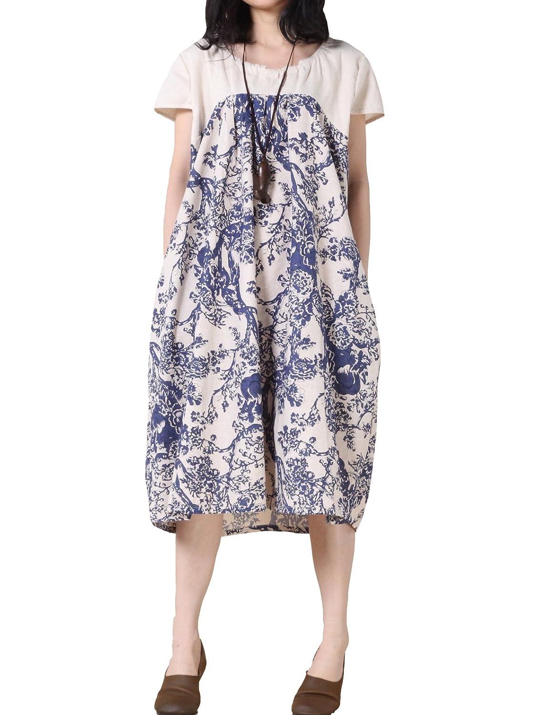 Vogstyle Damen Sommer Neutral Baumwoll Leinen Kleid