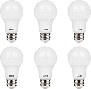 LUNO A19 Dimmable LED Bulb, 9.5W (60W Equivalent), 800 Lumens, 2700K (Soft White), Medium Base (E26),UL & Energy Star (6-Pack)