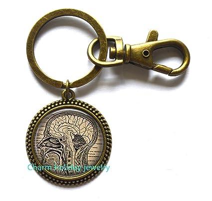 Brain Keychain, Anatomical Brain Key Ring,Steampunk anatomical brain Keychain anatomical brain Keychain anatomical brain jewelry for men