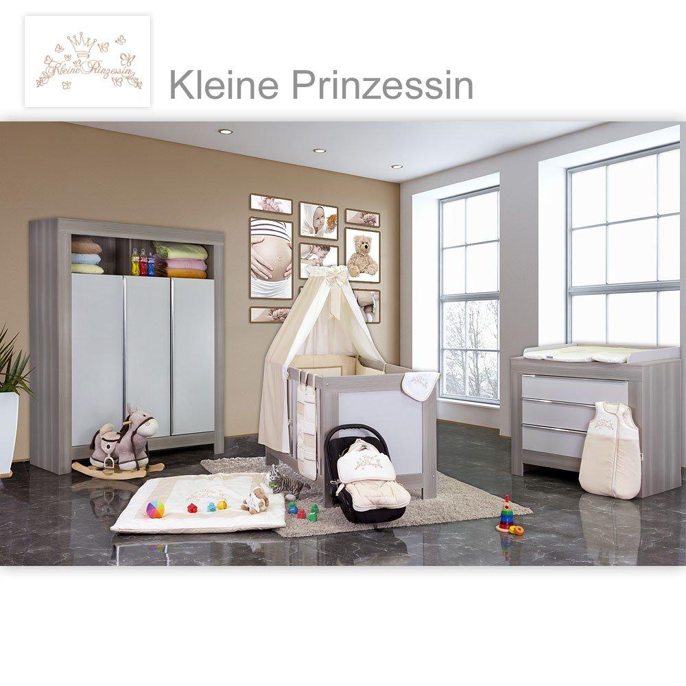 Babyzimmer Felix in akaziengrau 21 tlg. mit 3 türigem Kl. + kleine Prinzessin in Beige