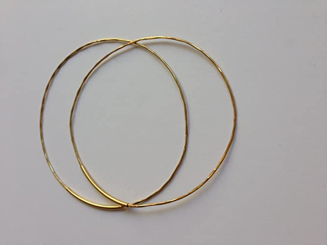 Amazon Thin 14 k Gold Hoop Earrings Hammered Gold Earrings