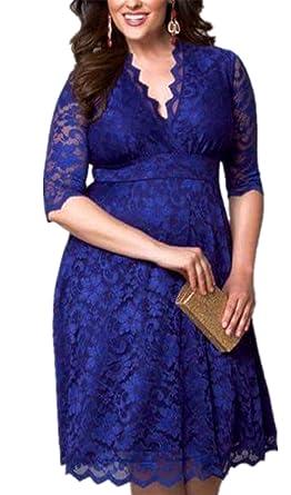 hot sale online a94d0 94bc0 WLITTLE Elegant Spitzenkleid für Mollige Damen Frauen ...