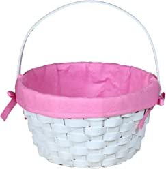 Vintiquewise(TM) White Painted Round Woodchip Basket Lined (Pink)