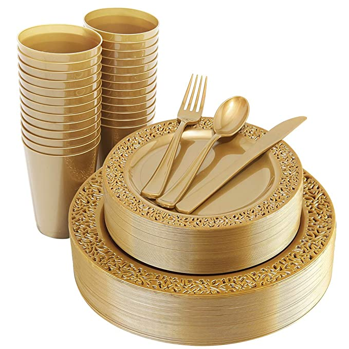 "IOOOOO 150 Pieces Gold Plastic Plates, Silverware and Gold Disposable Cups, Lace Design Plates Includes 25 Dinner Plates 10.25"", 25 Dessert Plates 7.5"", 25 Forks, 25 Knives, 25 Spoons,25 Cups 9 oz"