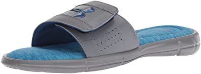 60a349212dd Under Armour Men s Ignite V Heathered Slide Sandal Zinc Gray (101) Moroccan  Blue
