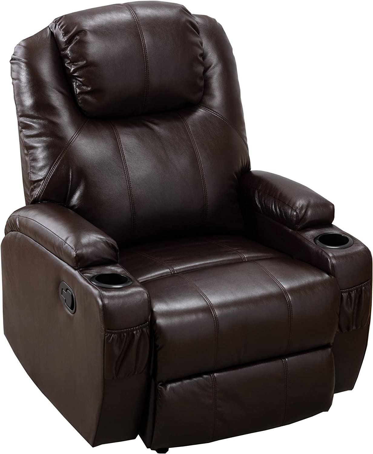 Merax Recliner Chair Lazy Boy Sofa, Manual Ergonomic Design with 2 Cup Holders for Living Room, Chocolate
