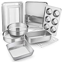 9-Piece Stainless Steel Bakeware Sets, E-far Metal Baking Pan Set Include Round/Square Cake Pans, Rectangle Baking Pan with Lid, Loaf Pan, Muffin Pan, Cookie Sheet with Rack, Dishwasher Safe