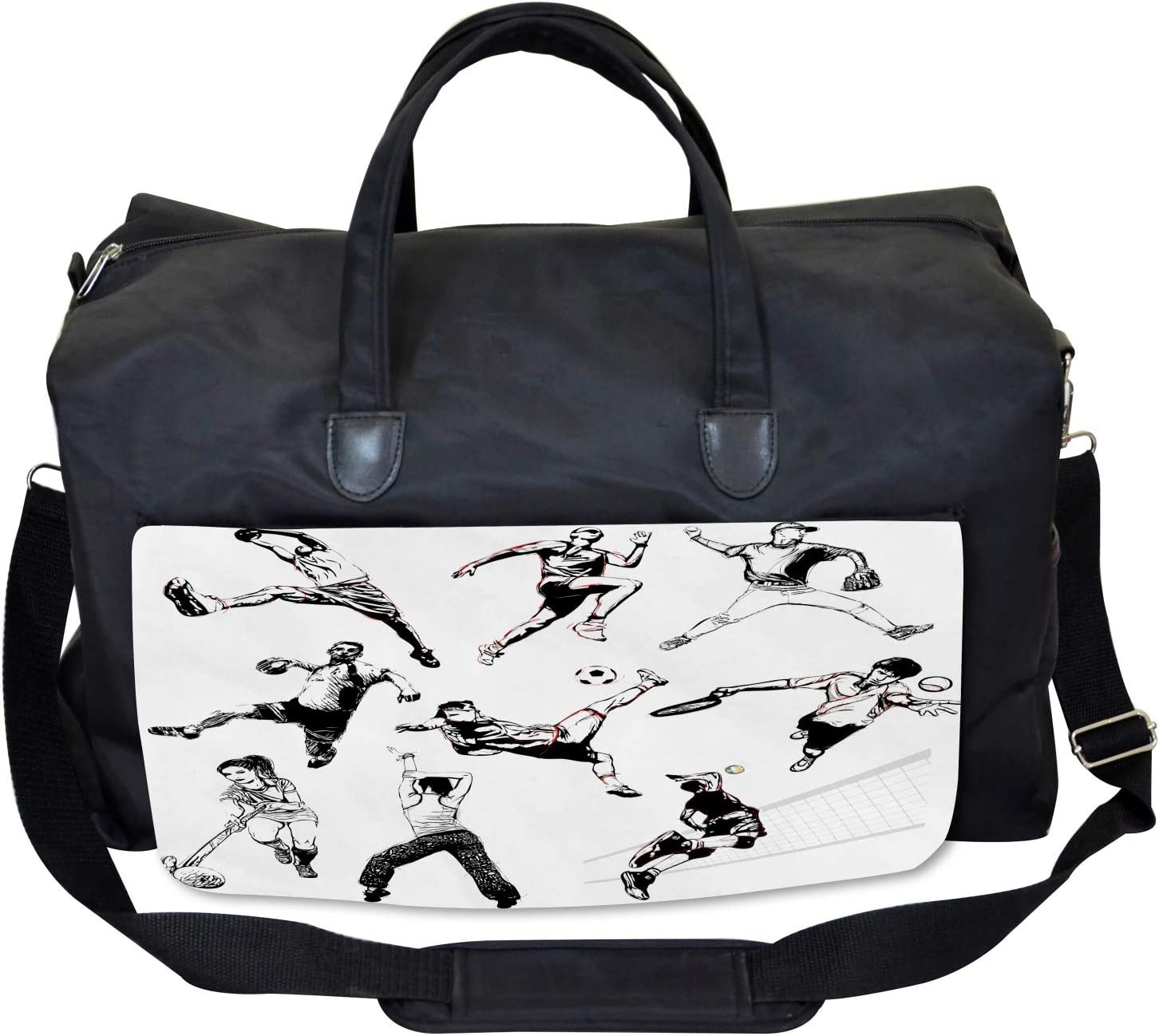 Ambesonne Gym Bag Various Sports Athletes Large Weekender Carry-on