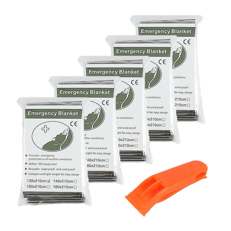 Couverture de Survie x5 De Haute Qualité Emballées Individuellement - Réfléchissantes afin de Maintenir votre Chaleur Corporelle - Couvertures Idéales pour l'Extérieur, la Randonnée, la Survie, Les Sacs d'Av
