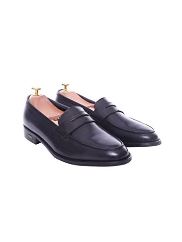 b7c1b28378c Zeve Shoes Penny Loafer - Black Grey (Hand Painted Patina) (EU 38